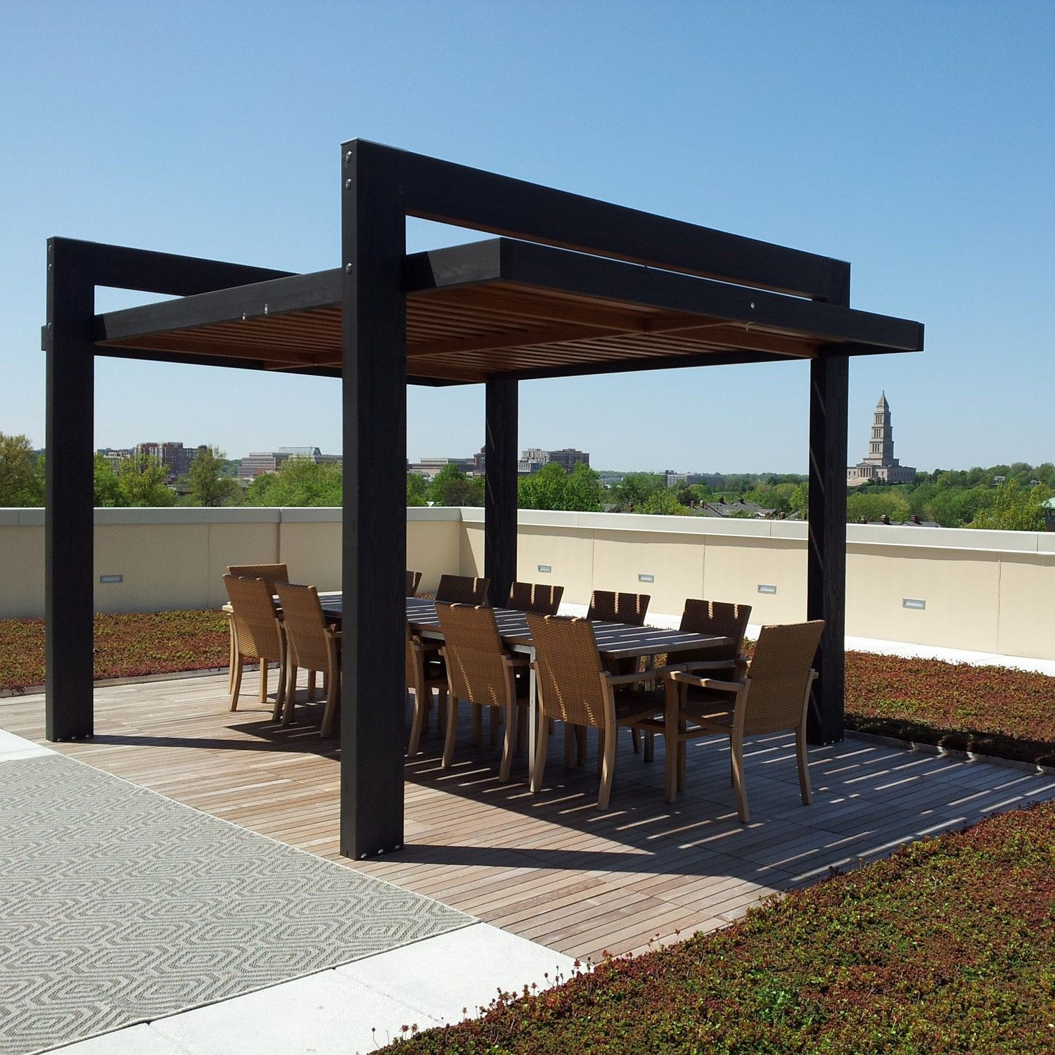 Rooftop shade structure google search c m rooftop for Steel shade structure design