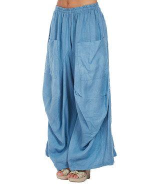 e36965e59ecae Blue Patch-Pocket Linen Palazzo Pants - Plus Too