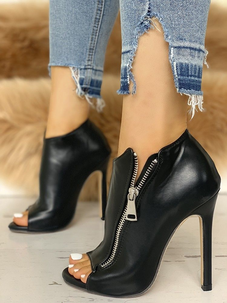 2f81dd4b174c Zip Design Peep Toe Thin Heeled Boots new dress styles