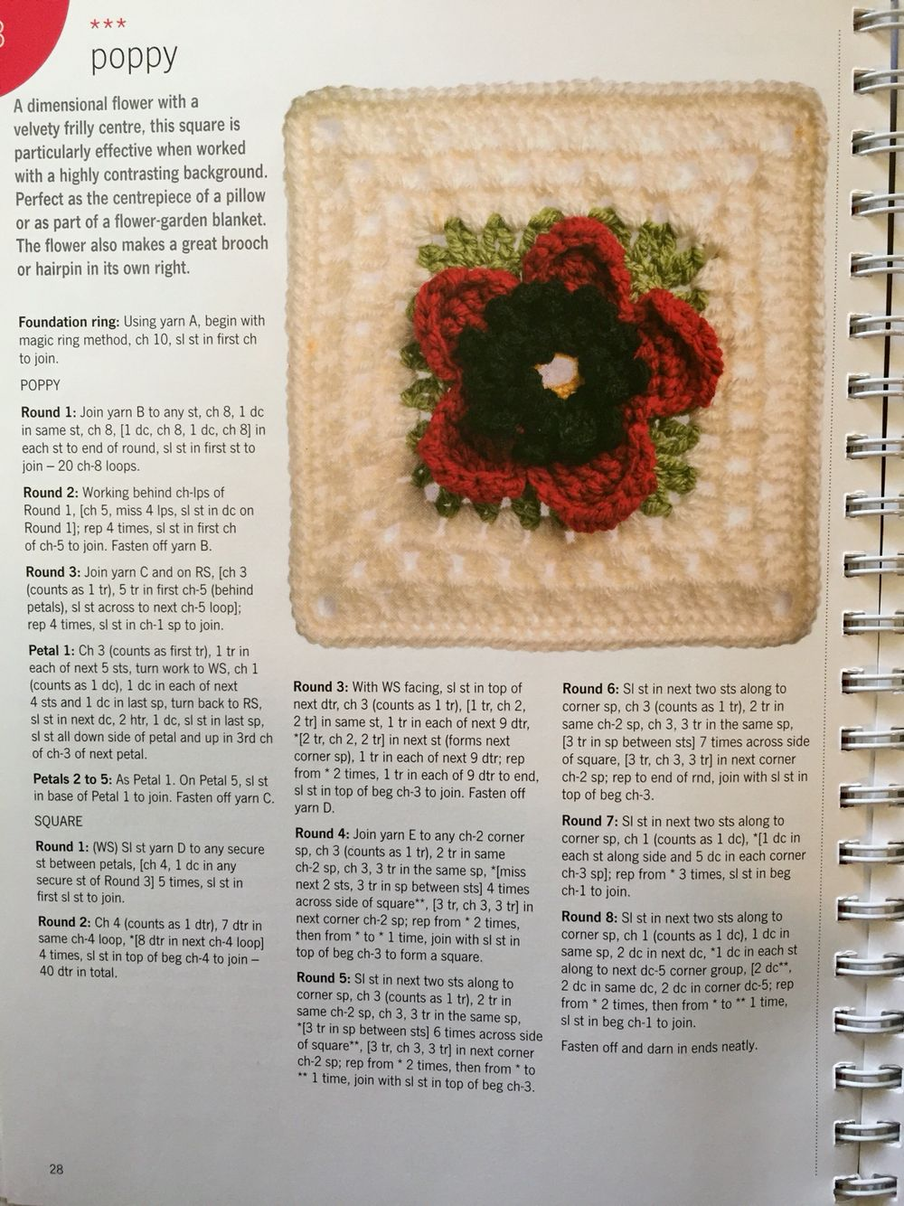 Poppy flower granny square free pattern crochet patterns poppy flower granny square free pattern bankloansurffo Image collections