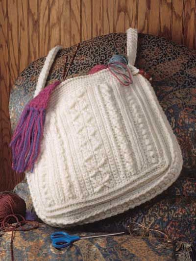 Aran Sampler Tote By Ruth Shepherd Free Crochet Pattern With