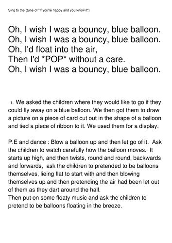 The Blue Balloon year 1 Stories with a familiar setting | Teaching Resources