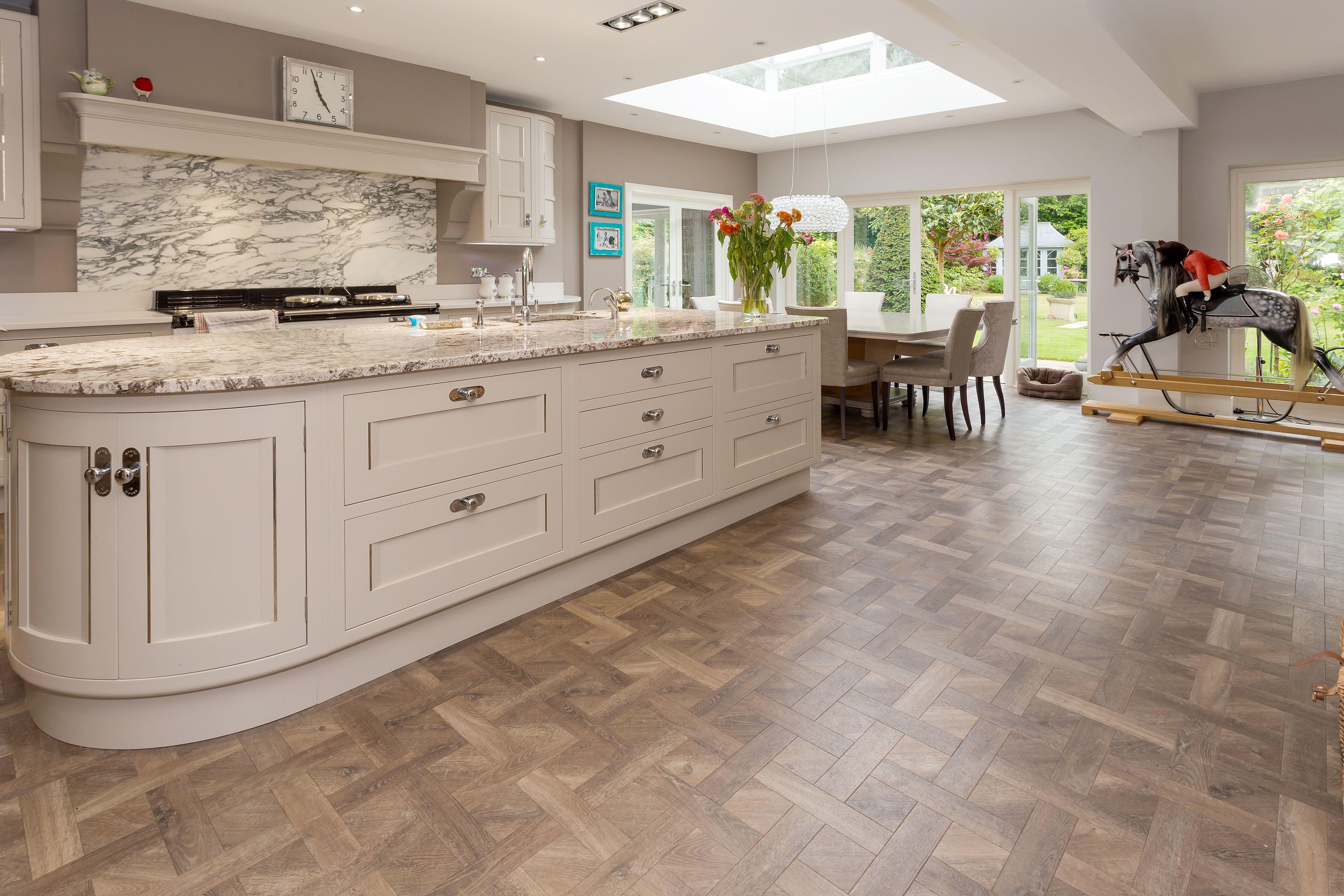 Amtico Signature Basketweave Luxury Vinyl Tile Flooring To Kitchen With Large Island Amtico Flooring Kitchen Luxury Vinyl Tile Amtico Flooring
