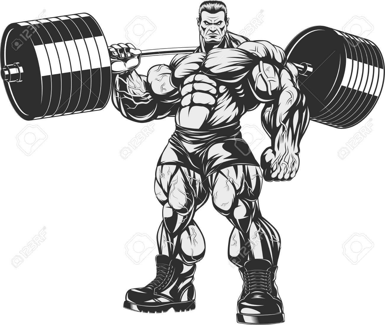 Vector Illustration Strict Coach Bodybuilding And