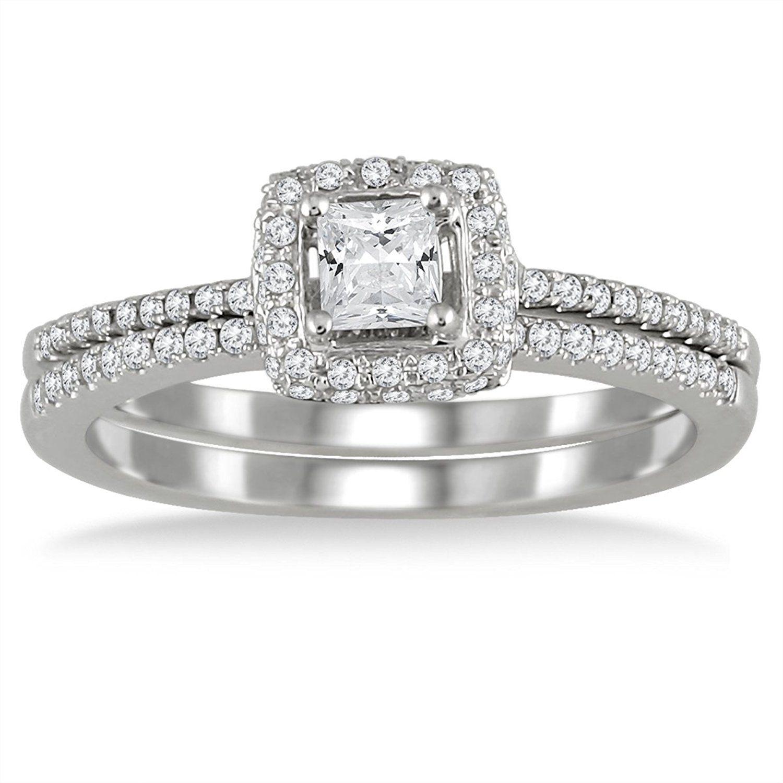 3 5 Carat Halo Princess Cut Diamond Bridal Set in 10K White Gold