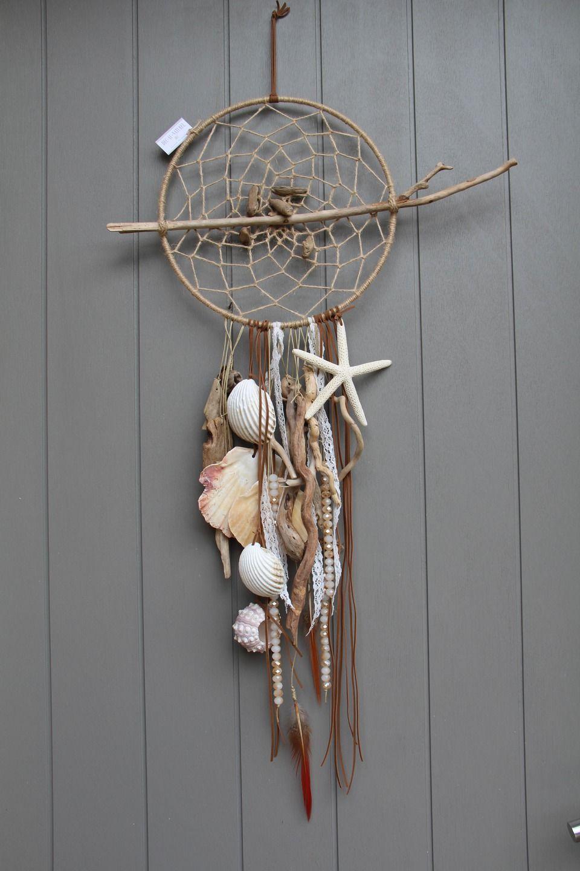 attrape r ves dreamcatcher mobile avec bois flott perles coquillages toile de mer. Black Bedroom Furniture Sets. Home Design Ideas