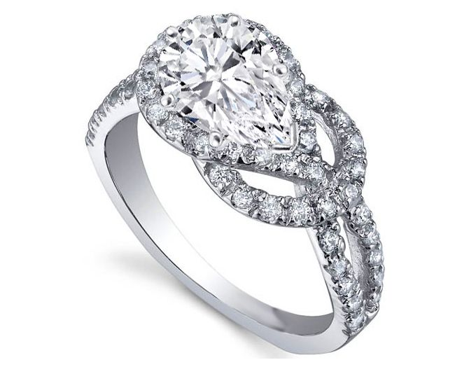 pear shape diamond love knot engagement ring jewels