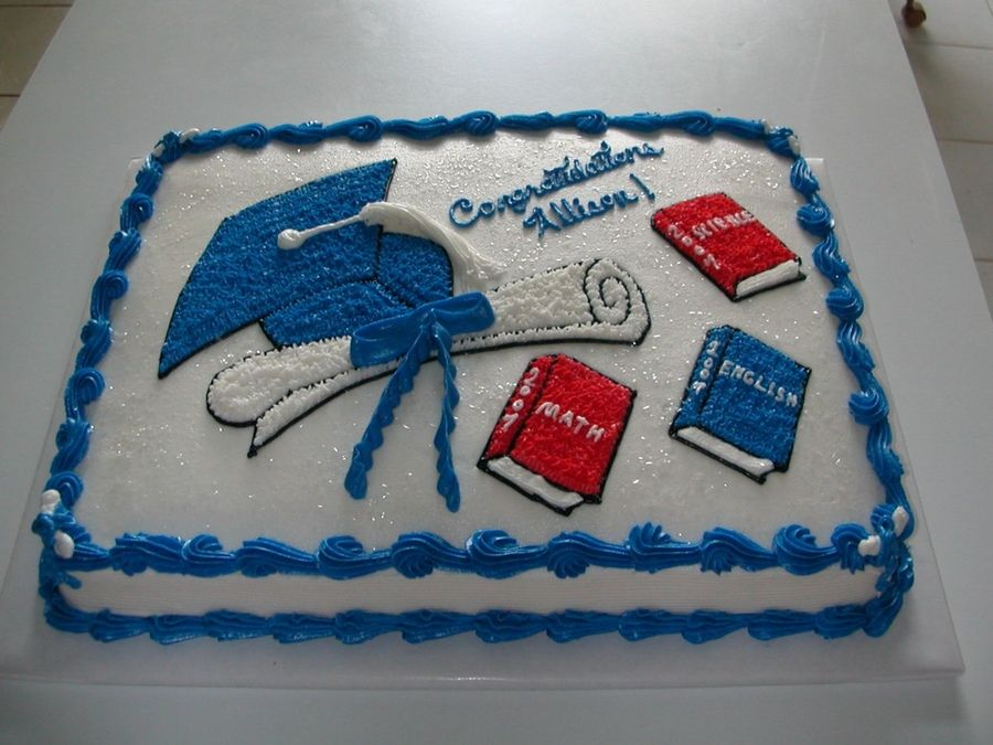 Graduation Cake Red White And Blue With Images Graduation