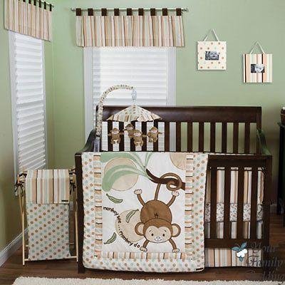 Best Brown Green Monkey Baby Boy Girl Neutral Kid Crib Nursery 400 x 300
