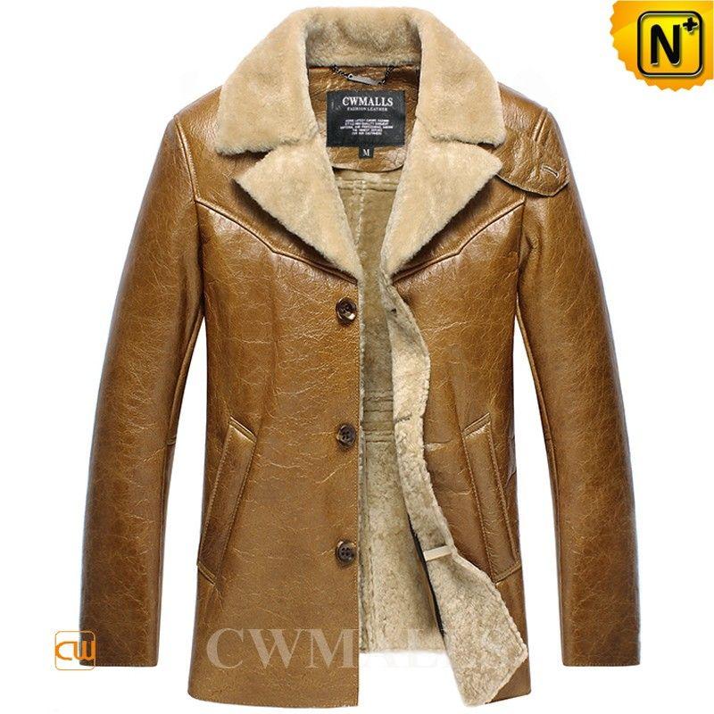 Mens Sheepskin Winter Jacket Coat CW858348 Winter tan sheepskin ...