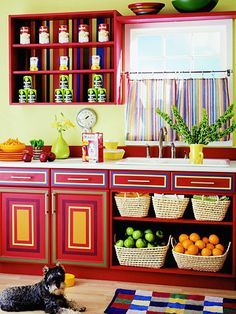 Kitchens With Bright Colored Cabinets Google Search Kitchen In
