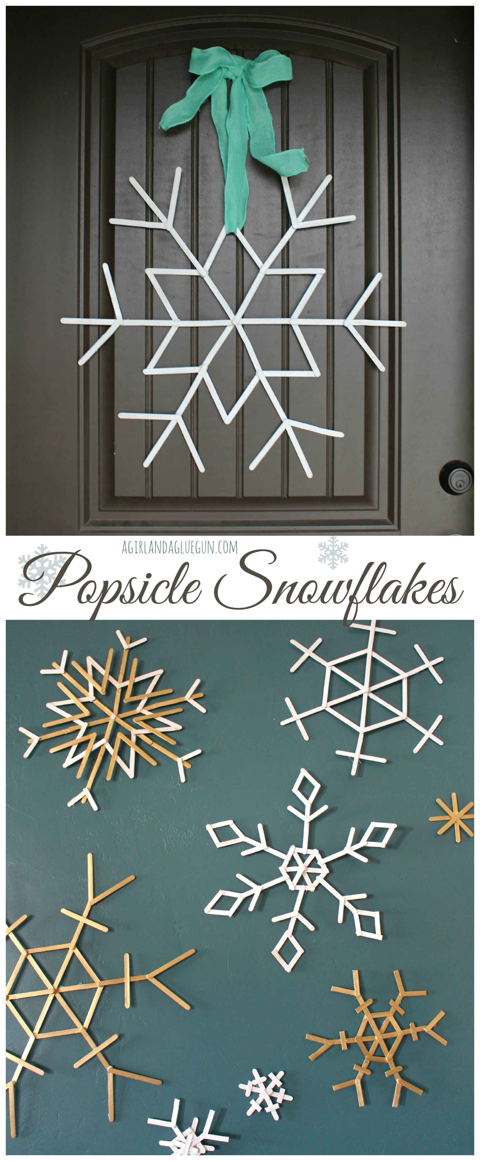 Popsicle snowflakes craft holidays and xmas