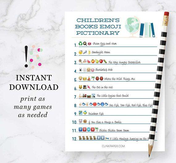 Children's Books Emoji Pictionary- Baby Shower Game ...