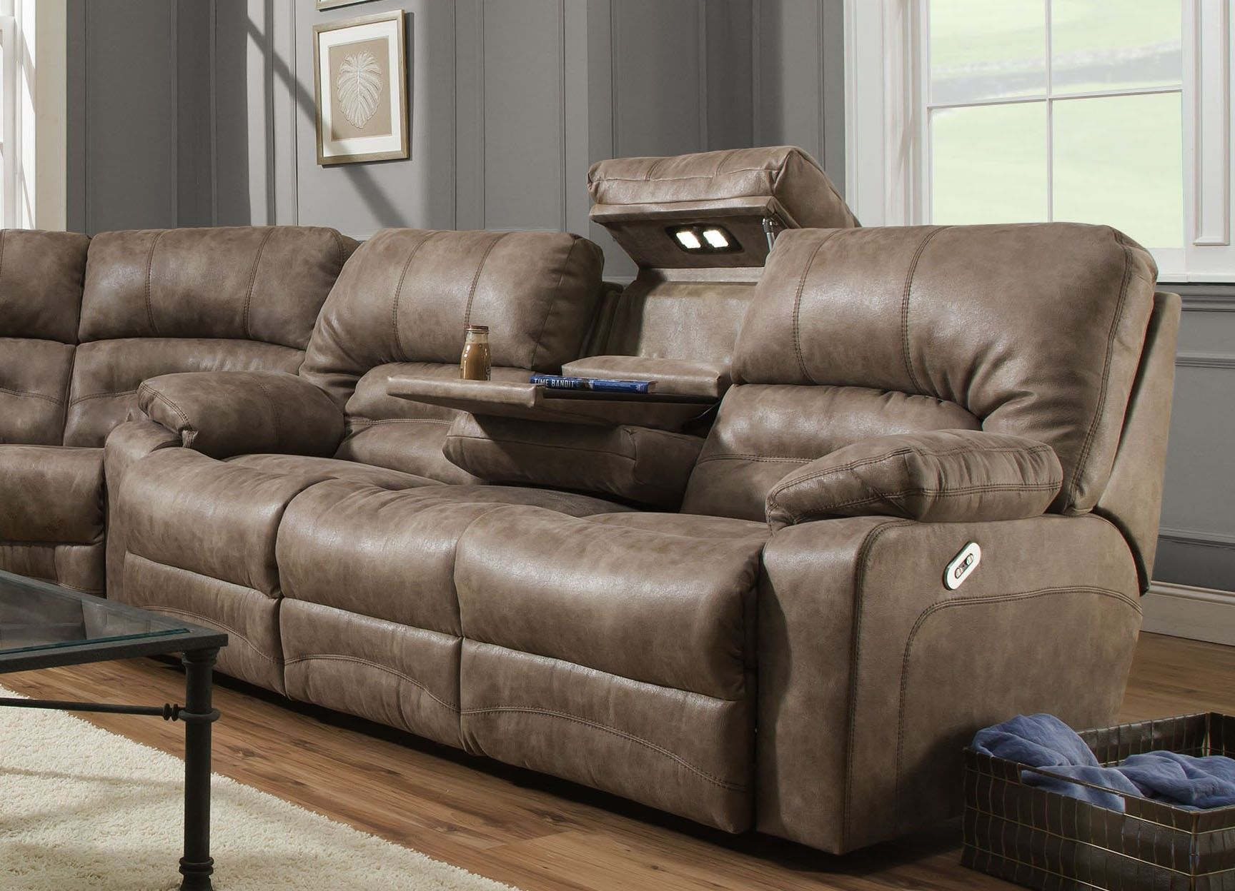 Leather Reclining Sofa With Fold Down Console Di 2020 Dengan Gambar