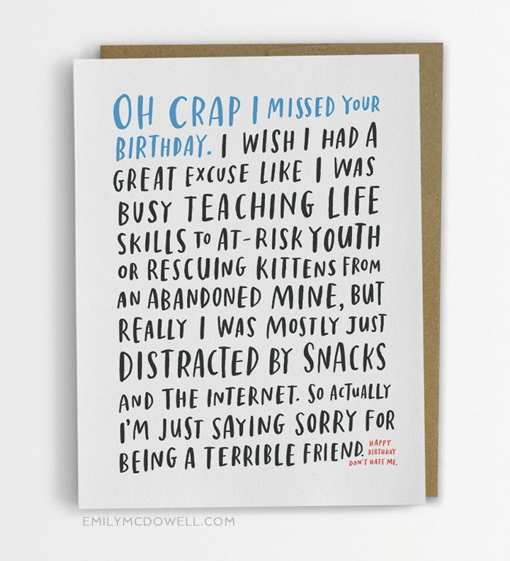 New Unbelievably Honest Cards by Emily McDowell – Late Birthday Card Messages