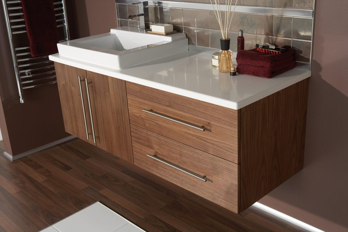 White worktop w/white sink and walnut White worktop