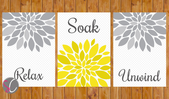 Yellow Grey Bathroom Wall Decor Flower Burst Wall Art Relax Soak ...