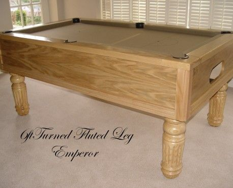 6ft Emperor UK Pool  Table in European oak with a natural satin finish and turned fluted legs, black leather pockets and beige cloth. Shop here: http://www.snookerandpooltablecompany.com/pool-tables/uk-pool-tables/traditional-bespoke-uk-pool/emperor-uk-pool-table-in-oak-with-beige-cloth.html