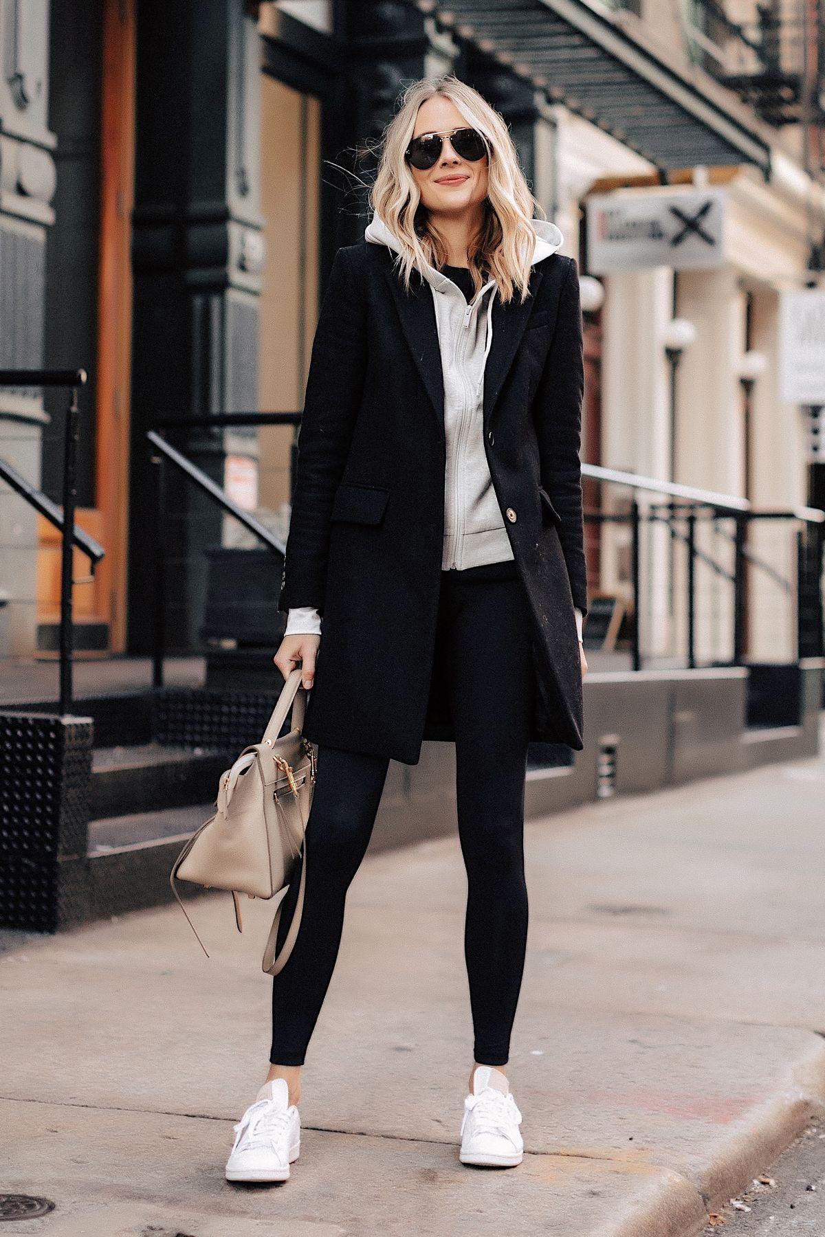 Photo of Fashion Jackson Wearing Black Wool Coat Grey Hoodie Black Leggings adidas white …