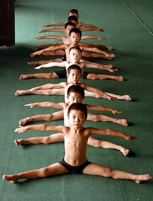 Chinese children practise gymnastics