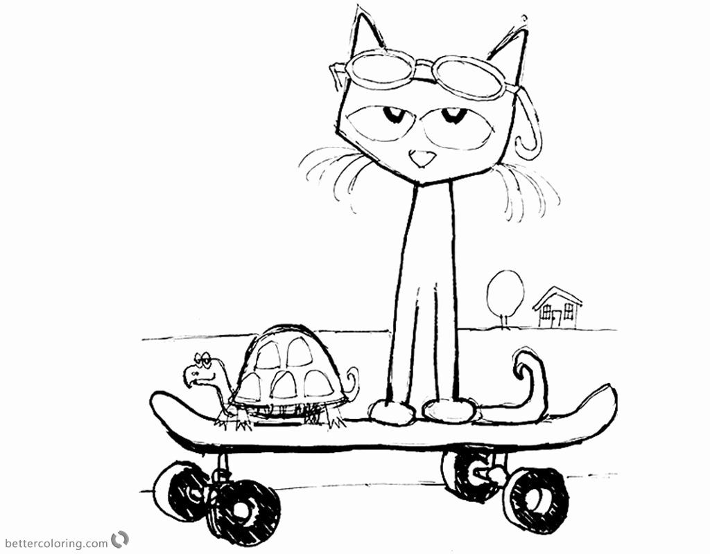 Pete The Cat Coloring Page Best Of Pete The Cat Coloring Pages Fanart Play Skateboard Free Printable Col Cat Coloring Page Coloring Pages Planet Coloring Pages