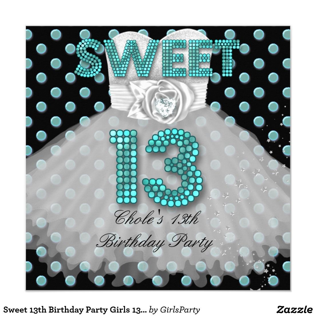 Sweet 13th Birthday Party Girls 13 Teen Teal Blue Card | 13th ...