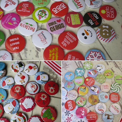 Christmas themed button badges from Koolbadges