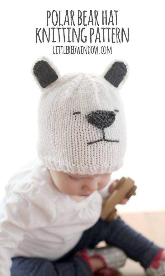 Little Polar Bear Hat Knitting Pattern | Pinterest | Gorros de punto ...