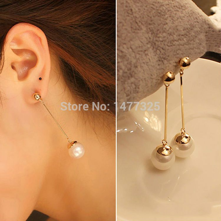 Trendy Stud Earrings Gold Plated Long Section Pearl Earrings ...