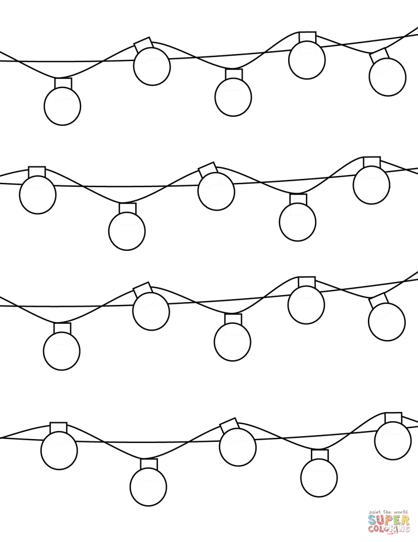 holiday lights coloring page string | Coloring Pages Ideas | Super ...