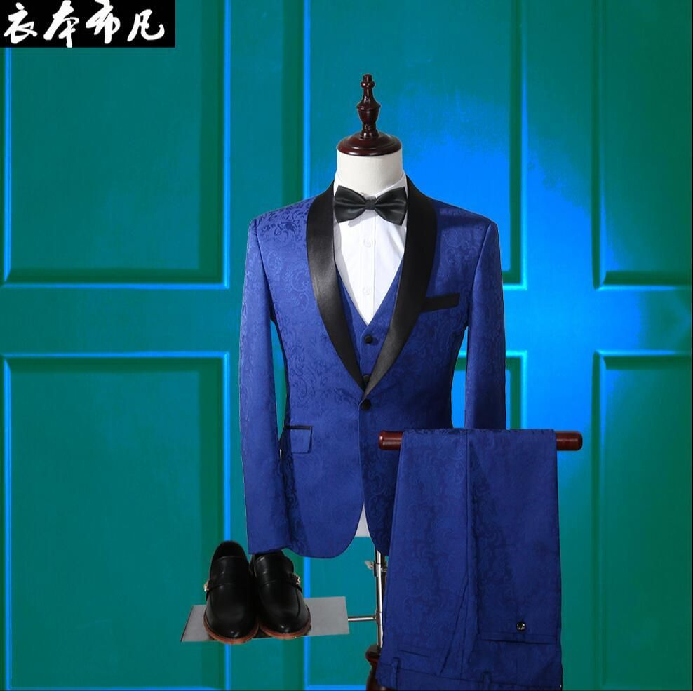 New Men\'s suits Slim party dress high-end custom three-piece flowers ...