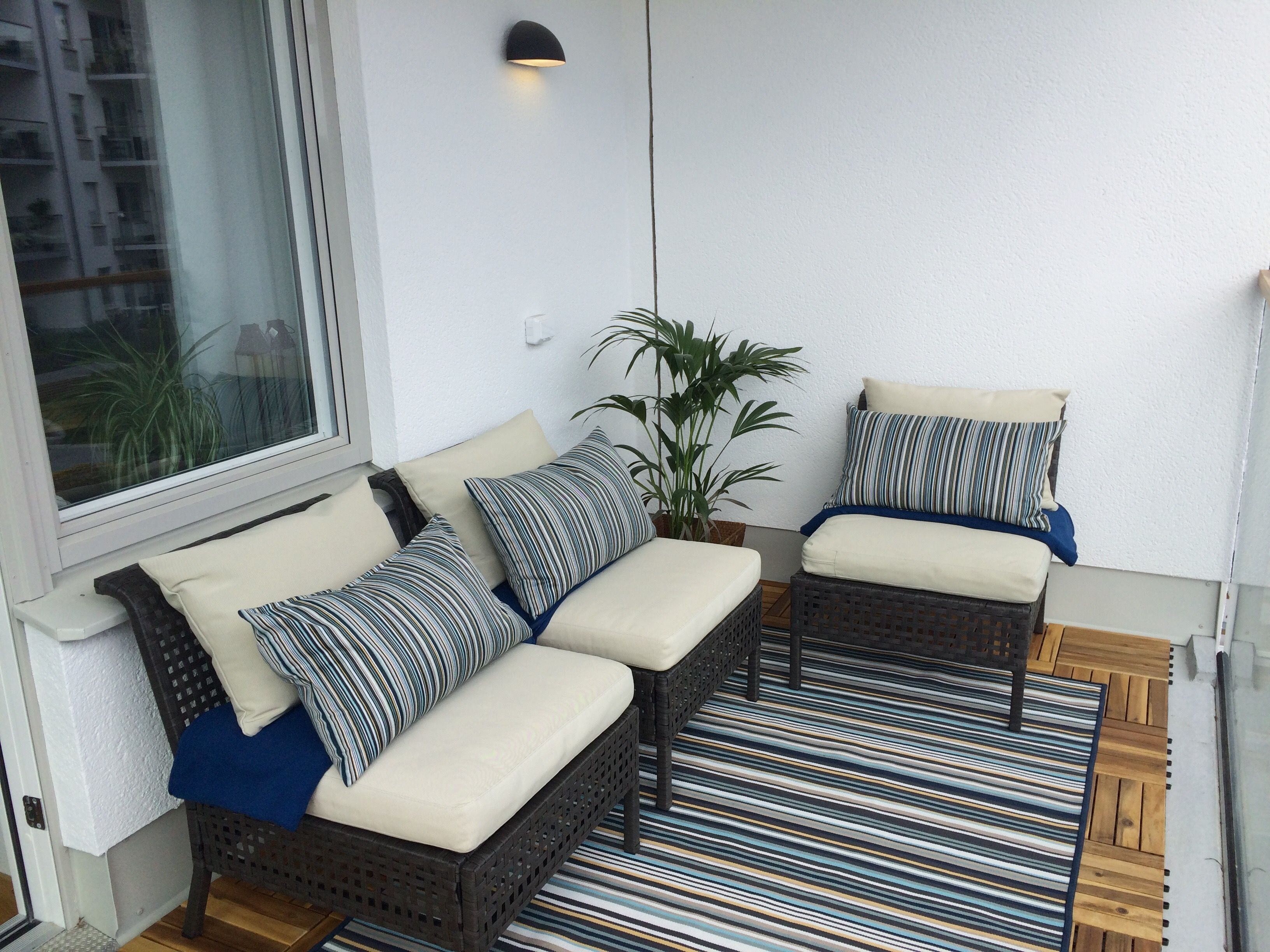My Very Own Balcony By Ikea Three Kungsholmen Sections In Dark Brown With HÅllÖ Cushions In Bei Furniture Design Outdoor Sectional Sofa Outdoor Furniture Sets