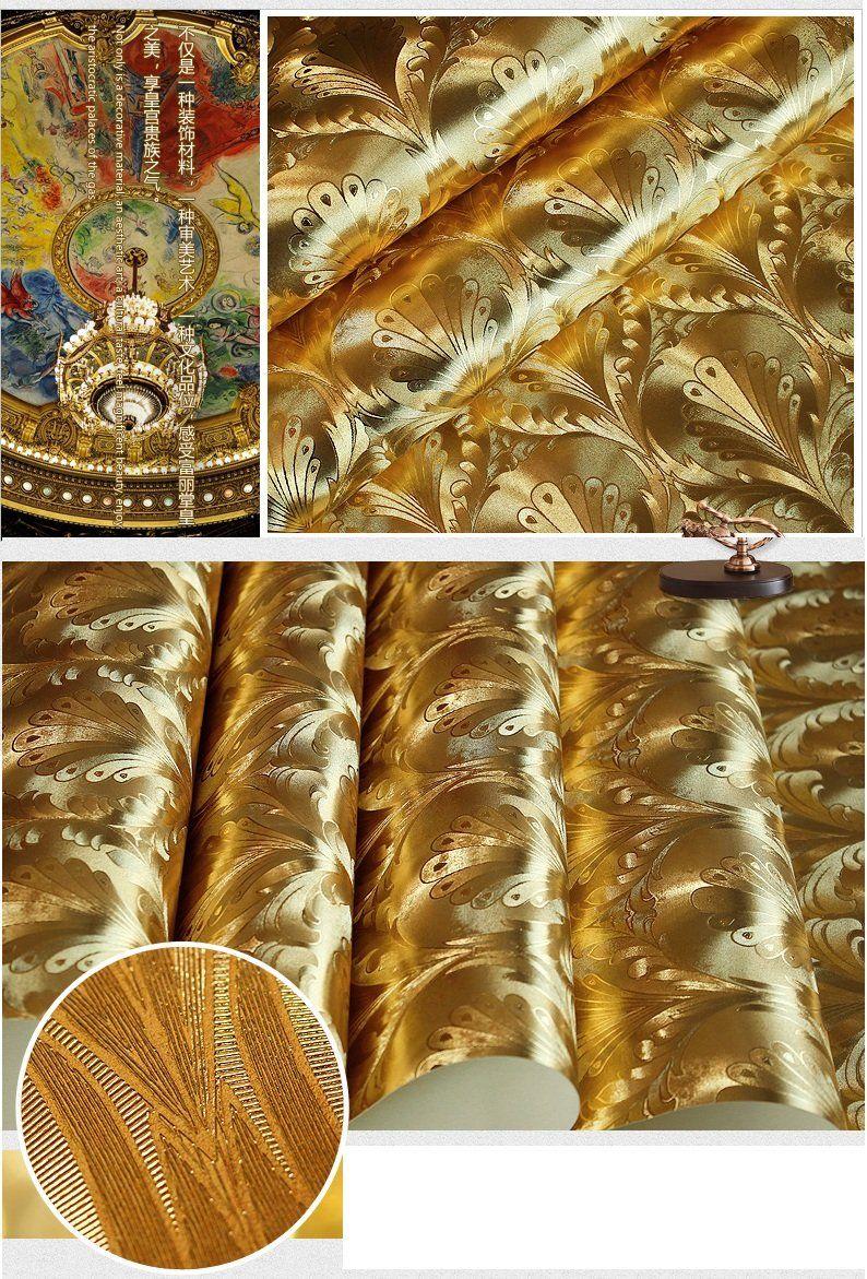 "HaokHome® 7075 Vinyl Gold Metallic Damask Wallpaper Shiny Glitter Wallpaper for Living room WallPaper Rolls 20.8"" x 393.7"" - - Amazon.com"