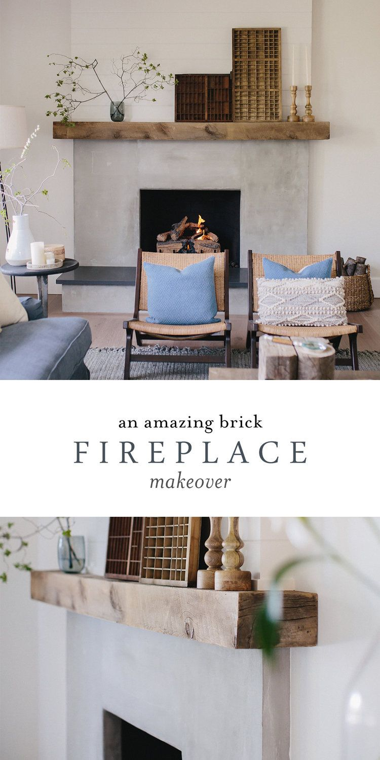 Brick Fireplace Makeover using Cement & Wood Mante