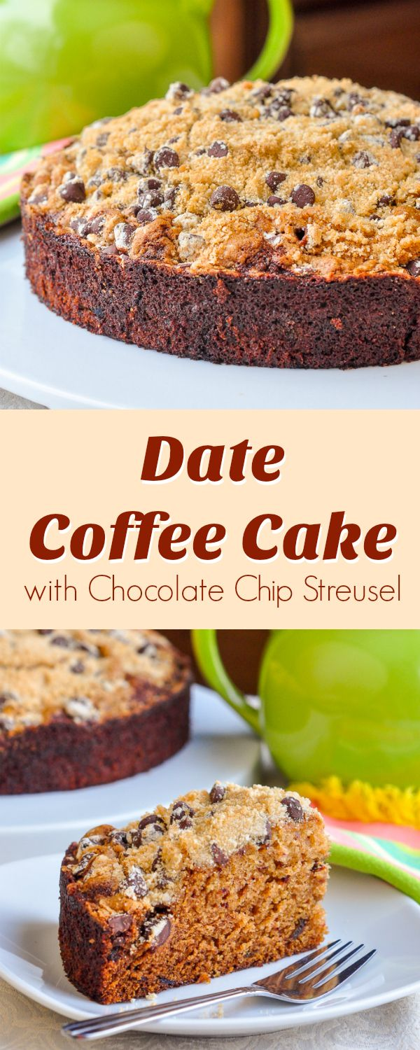 Date Coffee Cake with Chocolate Chip Streusel - a moist, delicious, date coffee cake made even better with the addition of a buttery crumb topping that includes sweet chocolate morsels.