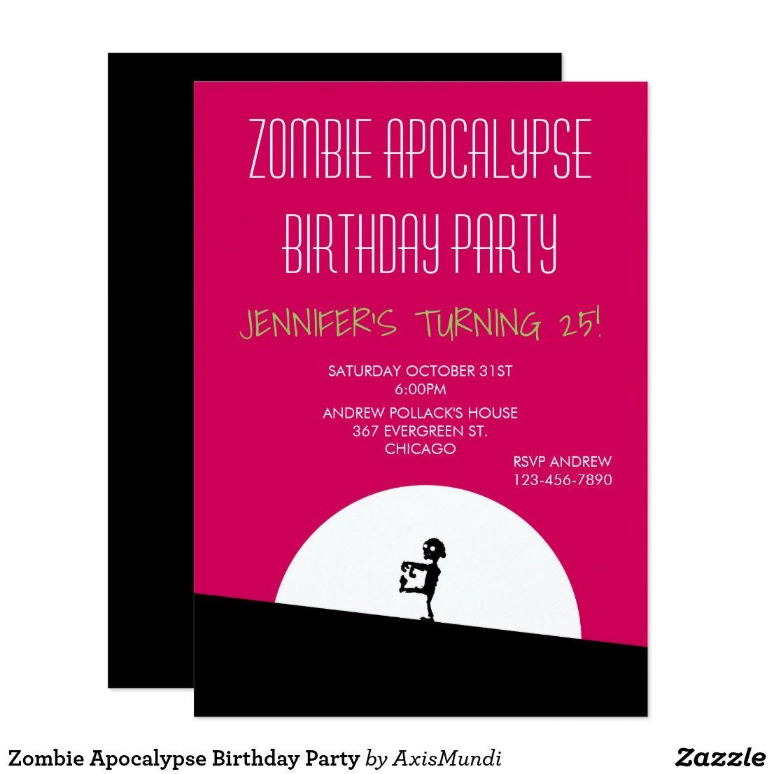 Zombie Apocalypse Birthday Party Card zazzle invitations