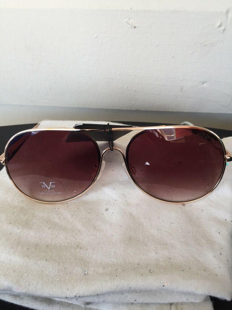 0d00d201e371 19V69 Italia Versace 1969 GLD Martina Gold/White Aviator Sunglasses NWT |  eBay
