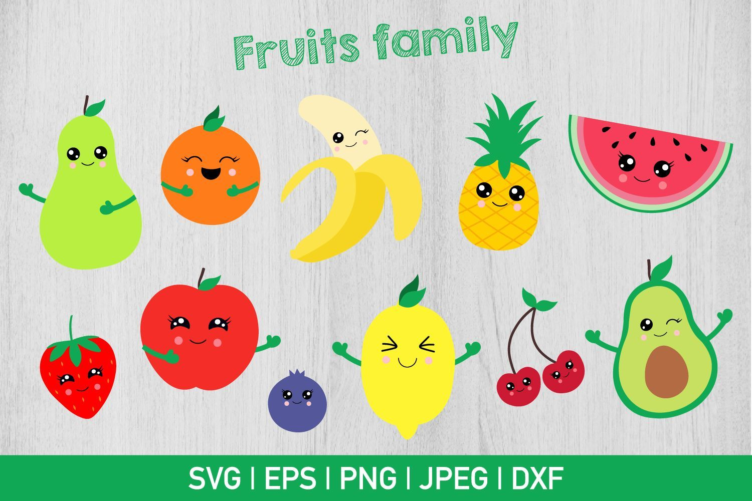 Fruits Family Bundle Graphic by CrazyPandaSvg - Creative Fabrica #programingsoftware Can be used with the Silhouette cutting machines, Cricut, or other program/software that accept these files. - After purchasing you... #programingsoftware