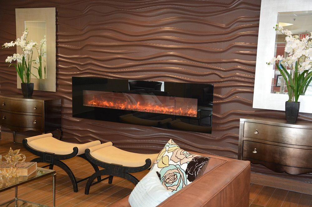 Amantii 95 Electric Wall Mount Fireplace In A Condo Lobby Designed