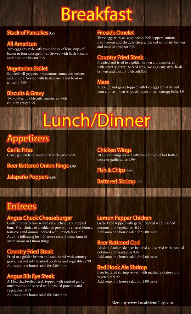 Restaurant Menu Graphic Design Services For Bar And Grill