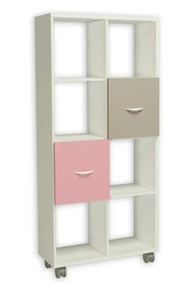 estantera con puertas en tono rosa y moka de huecos esta estantera tiene