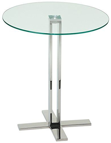 5df75f327de3 Cortesi Home Solen Round Clear Glass End Table with Chrome Base ...