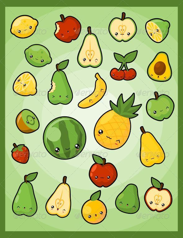 Kawaii Pack 5 Fruits Graphicriver A Collection Of Cute Fruits