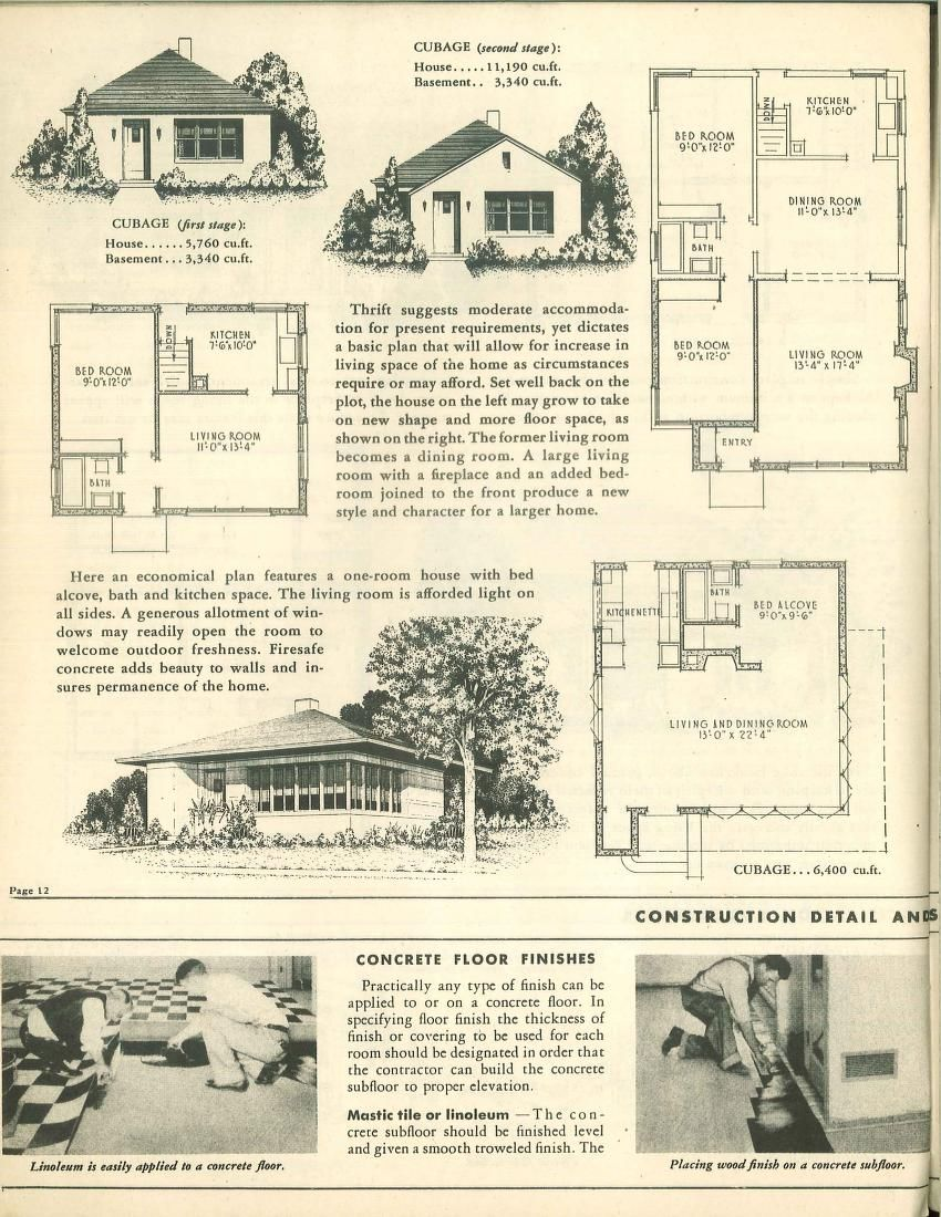 Suggested Designs For Small Firesafe Concrete Homes By Portland Cement Association Published 1946 Vintage House Plans Architectural Prints Sims 4 House Plans