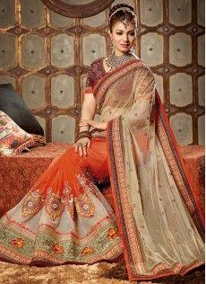 Ayesha Takia Style Orange And Beige Net Half N Half Saree