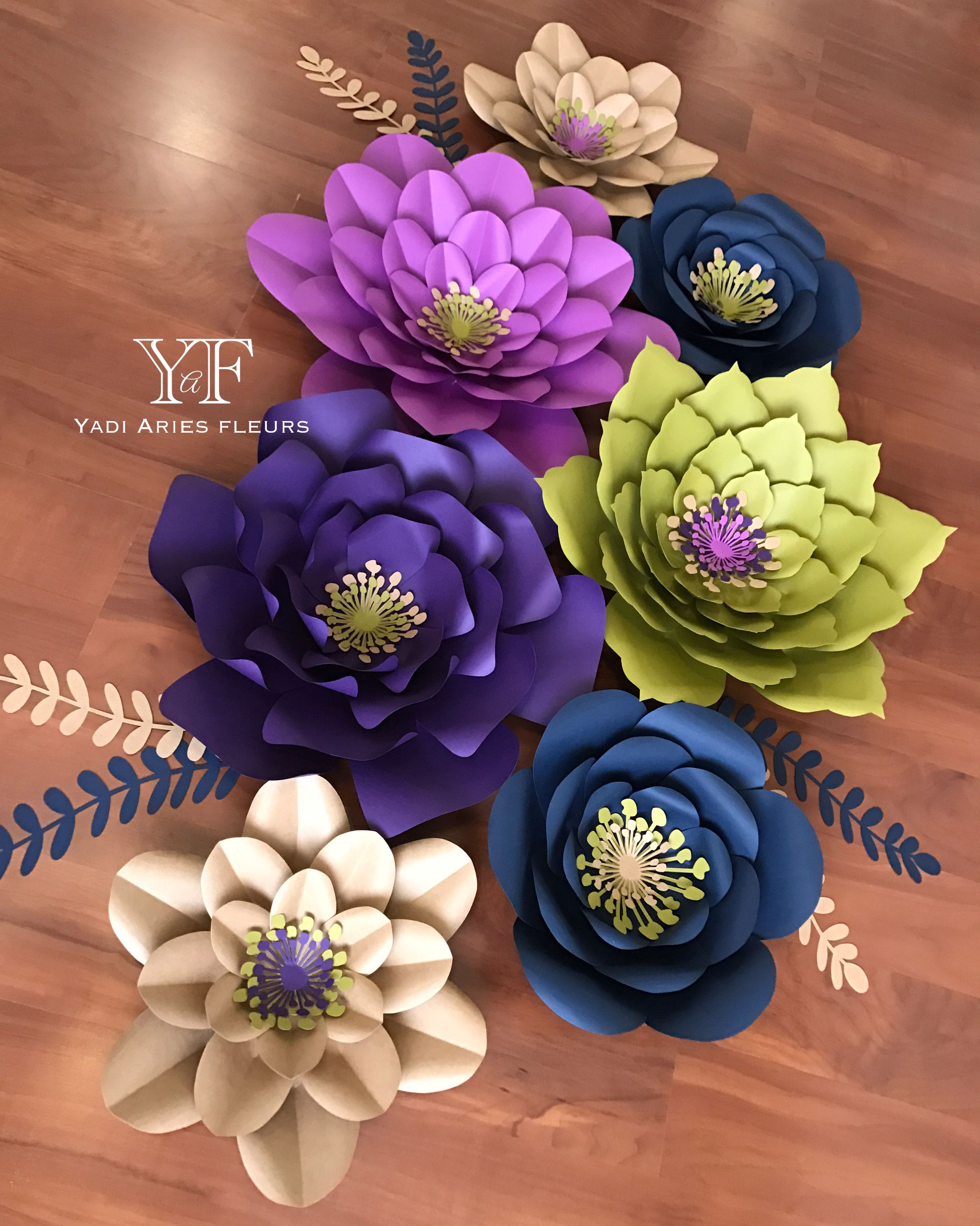 Paper flowers Wonderful color combo Card stock