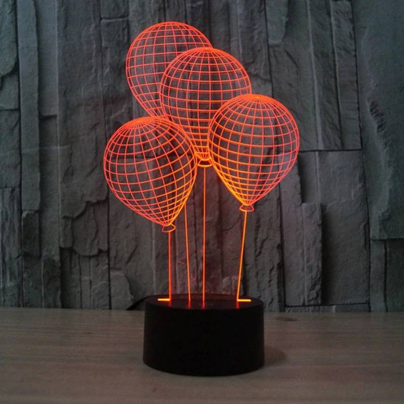 The Balloon Shape 3d Night Light With Touch Switch Led Acrylic 7 Colors Auto Change 3d Illusi In 2020 3d Night Light Night Light Kids Holiday Deco