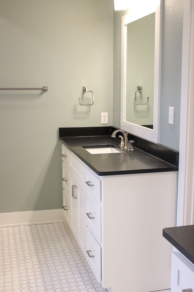 32+ White bathroom cabinets with dark countertops inspiration