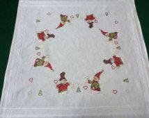 Our Embroidery New Christmas White Square Tablecloth Santa Claus