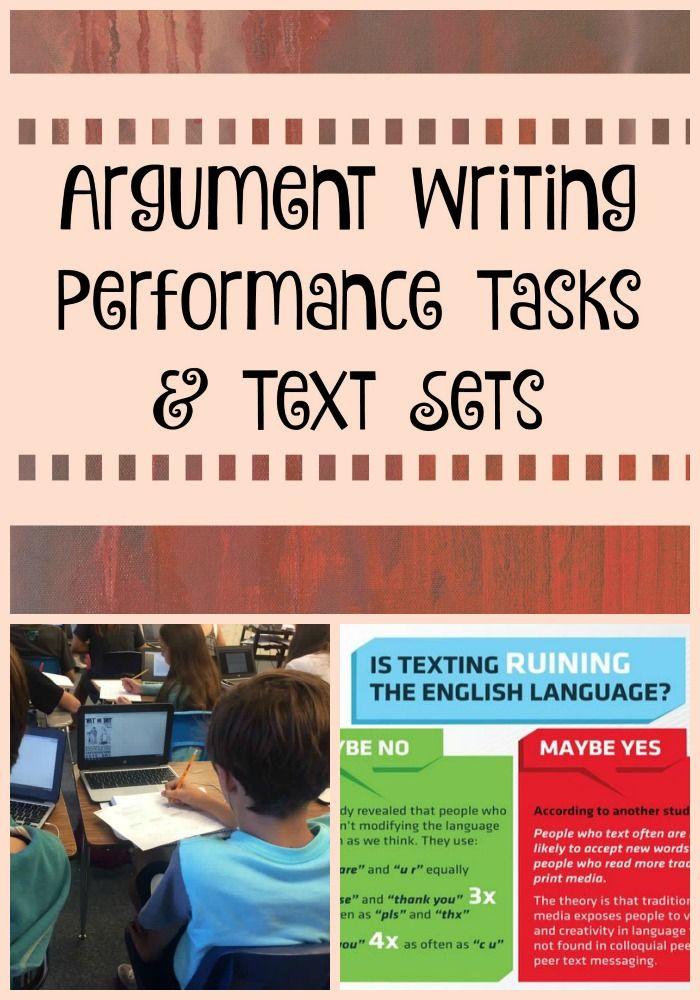 Argument Writing Performance Tasks  Text Sets  Text Types